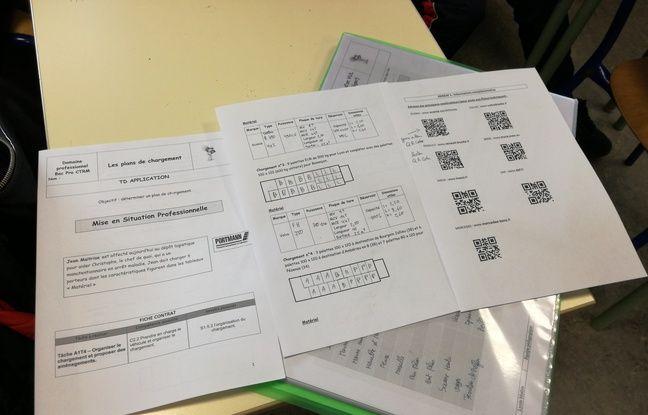 Une feuille de mise en situation accompagnée de QR codes d'un élève d'une classe de seconde de conduite au lycée Emile-Mathis en Alsace.
