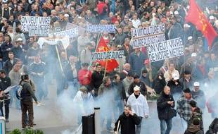 Manifestation de plusieurs milliers de viticulteurs le 25 novembre 2009 à Montpellier (Hérault).