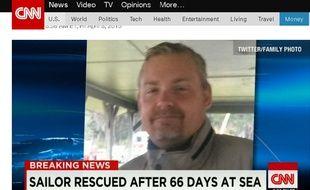 Capture d'écran d'unr eportage de CNN sur Louis Jordan, 37 ans, porté disparu depuis le 29 janvier, qui a été sauvé le 2 avril 2015.
