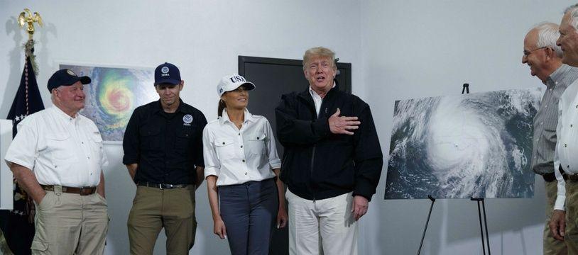 Donald Trump s'exprime lors de sa visite en Géorgie le 15 octobre 2018, après le passage de l'ouragan Michael.