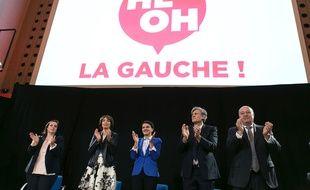 De gauche à droite: les ministres Emmanuelle Cosse, Marisol Touraine, Najat Vallaud-Belkacem, Stéphane Le Foll et Jean-Michel Baylet lors du meeting «He oh la gauche», le 25 avril 2016.