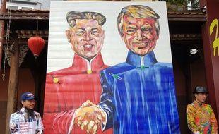 Une peinture représentant Donald Trump et Kim Jong-Un à Hanoï, le 27 février 2019.