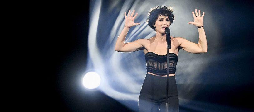 Barbara Pravi, lors de la première répétition de la deuxième demi-finale de l'Eurovision, à la Ahoy Rotterdam, le 19 mai 2021.
