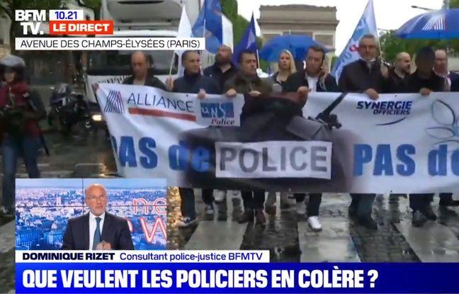 Extrait de la couverture de la manifestation policière du 12 juin à Paris sur BFMTV.