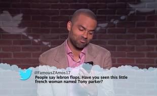 Tony Parker dans le segment «Mean tweets» de l'émission «Jimmy Kimmel Live»