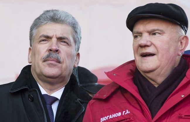 Pavel Groudinine (à gauche), candidat communiste à la présidentielle russe, et Guennadi Ziouganov, à Moscou le 23 février 2018.