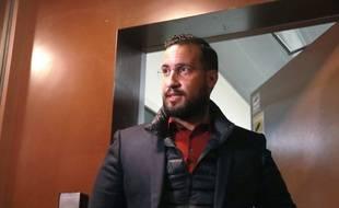 Alexandre Benalla, le 26 février 2019 à la sortie de la prison de la Santé à Paris.