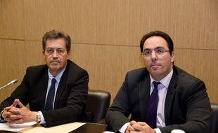 Le président, Georges Fenech, et le rapporteur, Sebastien Pietrasanta, de la commission d'enquête parlementaire lors d'une conférence de presse le 5 juillet 2016 à Paris