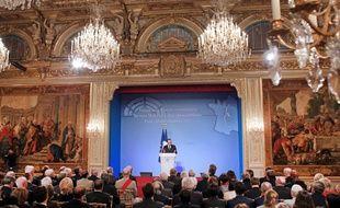 François Hollande lors de ses voeux aux corps constitués le 20 janvier 2015 à l'Elysée.