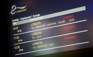 Un tableau d'arrivée des Eurostar à Bruxelles, en 2014. (archives)