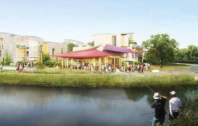 Vue d'architecte de la future ZAC Plaisance à Rennes, logée près du canal Saint-Martin.