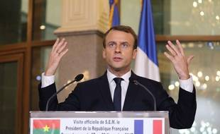 Emmanuel Macron à Ouagadougou le 28 novembre 2017.