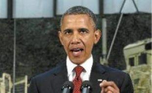 Barack Obama, lors de son discours sur la base aérienne de Bagram, en Afghanistan, le 2 mai.