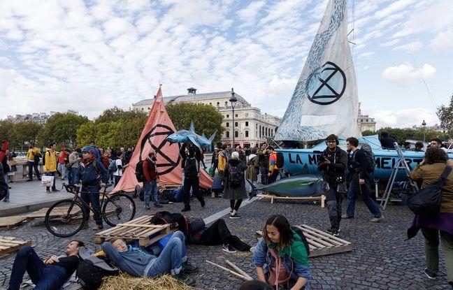 Blocage de la place du Châtelet et du pont au change à Paris par Extinction Rebellion, le 7 octobre 2019.