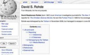 Capture d'écran de la fiche consacrée à David Rohde, journaliste au New York Times, sur Wikipédia