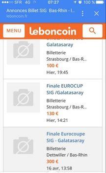 Des billets pour la finale d'Eurocoupe entre Strasbourg et le Galatasaray Istanbul ont été proposés à 300 euros sur Le Bon Coin.