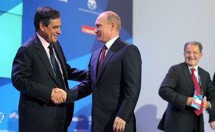 François Fillon et Vladimir Poutine à Moscou le 19 septembre 2013
