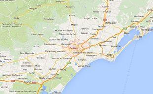 Capture d'écran: Vue Google Maps de Béziers.