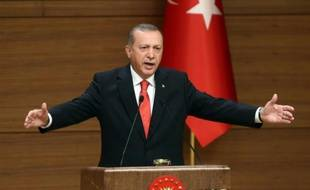 La président turc Recep Tayyip Erdogan, dans son palais présidentiel à Ankara, le 19 octobre 2015