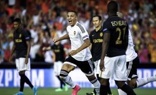 La joie de Rodrigo après son but lors de Valence-Monaco (3-1) en barrage aller de la Ligue des champions, le 19 août 2015.
