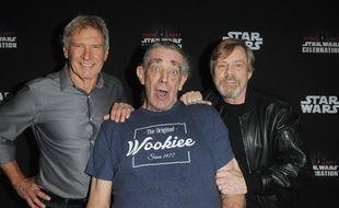"""Peter Mayhew, l'interprète du personnage Chewbacca dans """"Star Wars"""" aux côtés d'Harrison Ford et de Mark Hamill, le  13 avril 2017."""