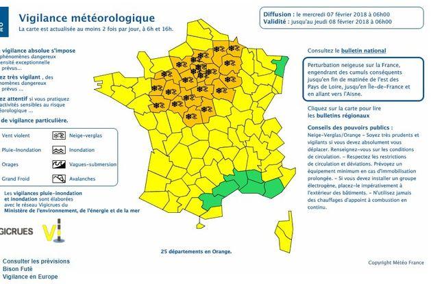 25 départements sont encore en alerte orange neige-verglas