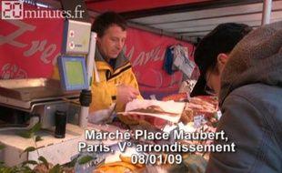 Les travailleurs du froid, place Maubert à Paris