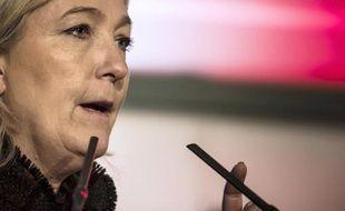 La présidente du Front national, Marine Le Pen, à La Roche-sur-Foron le 7 février 2015
