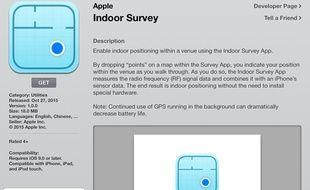 La description de l'app Indoor Survey d'Apple.