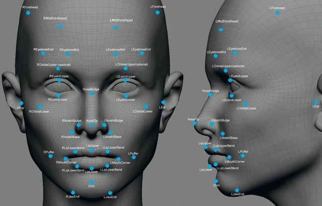 Les zones du visage utilisées par Facebook pour la reconnaissance d'image.