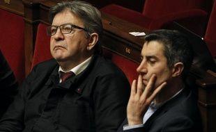 Jean-Luc Mélenchon et François Ruffin (LFI)  à l'Assemblée nationale, le 28 janvier 2020.