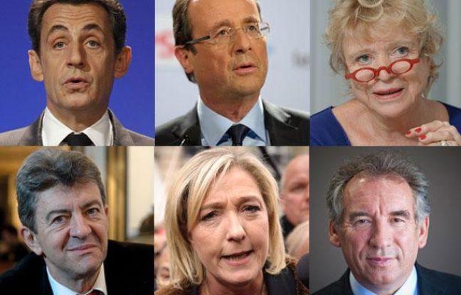 Mosaïque des candidats à l'élection présidentielle 2012. Nicolas Sarkozy, François Hollande, Eva Joly, Jean-Luc Mélenchon, Marine Le Pen et François Bayrou (De gauche à droite et de haut bas)