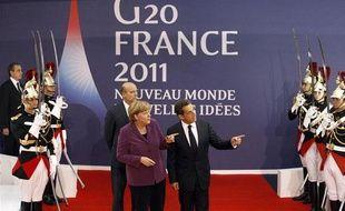 Angela Merkel et Nicolas Sarkozy à Cannes, le 2 novembre 2011, à la veille d'une réunion du G20.