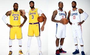 LeBron James avec Anthony Davis, pour les Lakers, et Kawhi Leonard avec Paul George, pour les Clippers (photomontage).