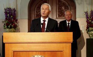 Le président du comité Nobel norvégien, Thorbjoern Jagland, annonce le vainqueur du prix Nobel de la paix, le 11 octobre 2013 à Oslo (Norvège).