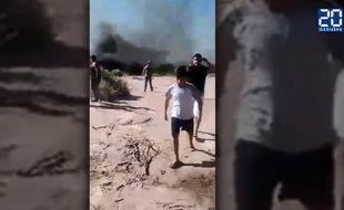 Capture d'écran de la vidéo amateur du crash des deux hélicoptères de «Dropped».