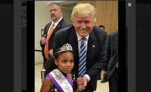 Capture d'écran de la photo postée sur Twitter de la rencontre entre Donald Trump et Little Miss Flint le 15 septembre 2016.