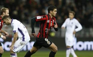Le Niçois Hatem Ben Arfa a inscrit le seul but du match de Ligue 1 contre Toulouse, le 3 février 2016 à l'Allianz Riviera de Nice.