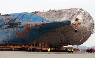 L'épave du Sewol en Corée du Sud. En 2014, le naufrage du ferry avait fait 304 morts.