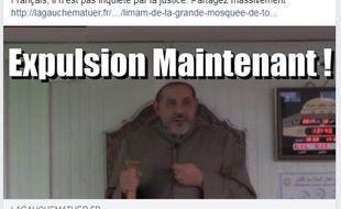 La publication Facebook du site « La Gauche m'a tuer »  appelant à l'expulsion de l'imam prétendument non inquiété par la justice.
