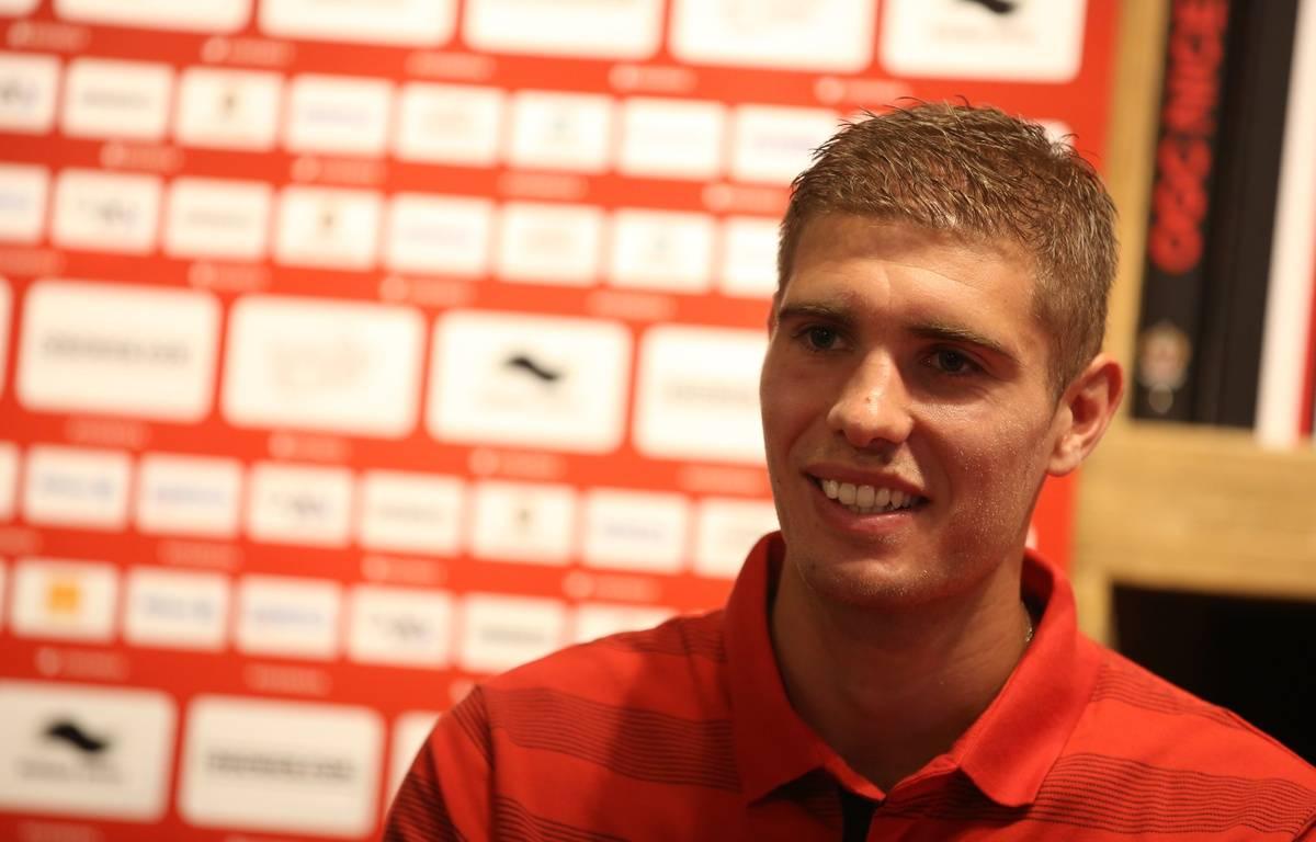 Maxime Le Marchand s'est blessé au genou droit, contre Saint-Etienne samedi.  – OGC Nice Médias