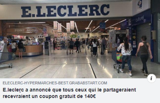 Voici un post Facebook d'un utilisateur renvoyant sur le site frauduleux promettant un bon d'achat chez E.Leclerc.
