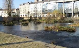 L'Erdre gelée, en centre-ville de Nantes