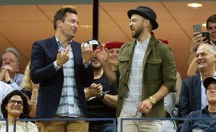 Jimmy Fallon et Justin Timberlake font les pitres lors du match de l'US Open entre Richard Gasquet et Roger Federer, le