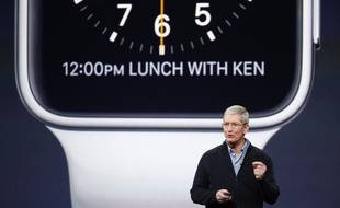 L'Apple watch présentée par Tim Cook le 9 mars 2015.