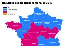 La carte définitive des résultats du second tour des élections régionales, le 13 décembre 2015.