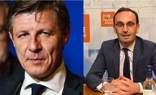 La maire sortant de Bordeaux, Nicolas Florian (LR), et le candidat LREM Thomas Cazenave.