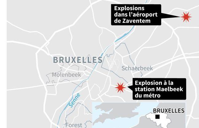 Carte des explosions à Bruxelles.