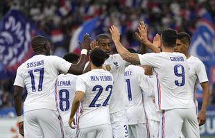 Olivier Giroud célèbre un but contre la Bulgarie lors du match de football amical entre la France et la Bulgarie au Stade de France à Saint Denis, le mardi 8 juin 2021.