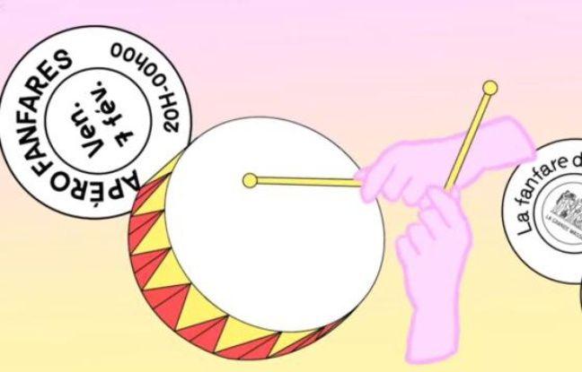 Dessin de tambour pour l'apéro fanfares des Grands Voisins